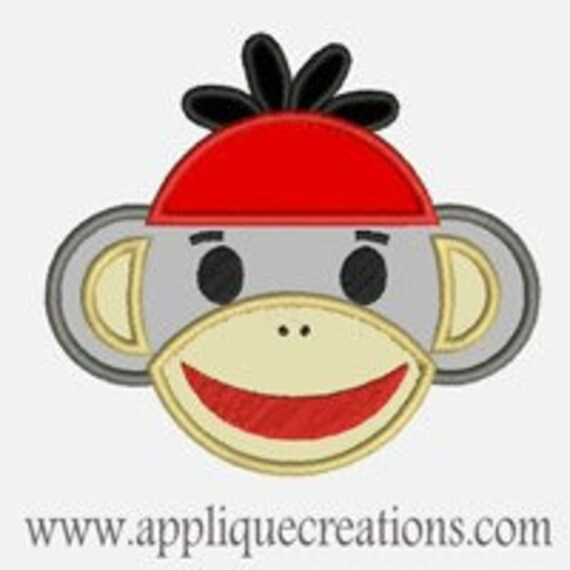 Sock Monkey Boy...Embroidery Applique Design...Three sizes for multiple hoops...Item1143.