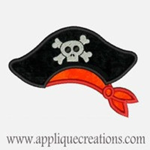 Pirate Hat...Embroidery Applique Design...Three sizes for multiple hoops...Item1056.