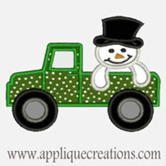 Snowman Truck ...Embroidery Applique Design...Three sizes for multiple hoops...Item1372.