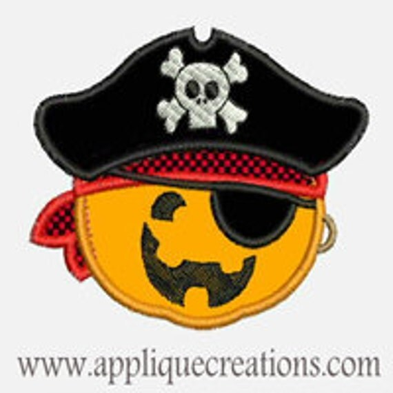 Pumpkin Pirate...Embroidery Applique Design...Three sizes for multiple hoops...Item1399.