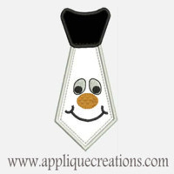 Snowman Tie...Embroidery Applique Design...Three sizes for multiple hoops...Item1410.