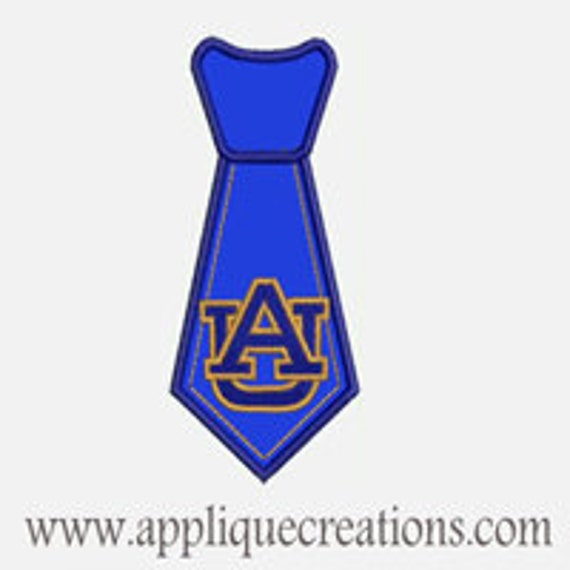 AU Tie...Embroidery Applique Design...Three sizes for multiple hoops...Item1480.