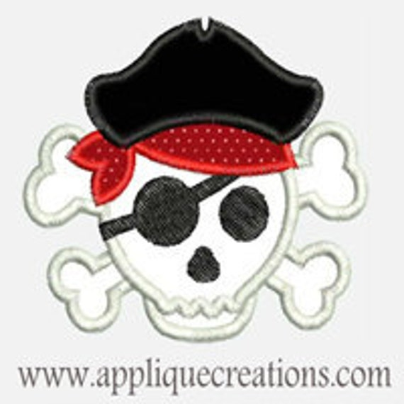 Pirate Skull...Embroidery Applique Design...Three sizes for multiple hoops...Item1495.
