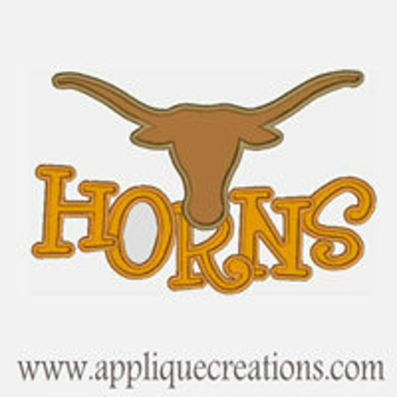 Horns...Embroidery Applique Design...Two sizes for 5x7 and 6x9 hoops...Item1509.