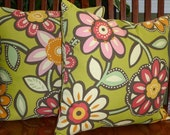 Reserved Listing for Jamie - Decorative Throw Pillow Covers Green Floral - One18 Inch