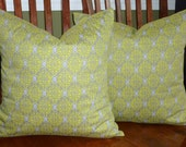 Decorative Accent Pillow Covers - Set of Two 18 Inch - Yellow and Grey