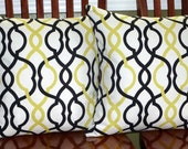 Decorative Accent Pillow Covers - Two 18 Inch Black and Yellow / Green