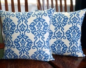 Decorative Pillows, Throw Pillows, Cushion Covers, Accent Pillows, Home Decor. - Set of Two 18 Inch Indigo Blue