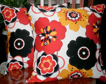 Decorative Accent Pillow Covers - Two 18 Inch in Red Black and White