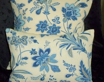 Decorative Throw Pillow Covers - Blue Floral - Set of Two