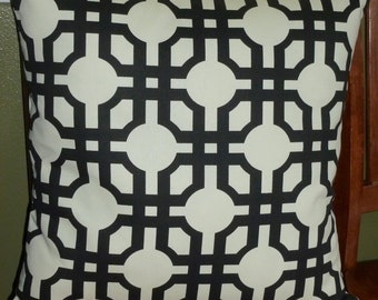 Decorative Throw Pillow Cover - One 20 Inch in Black and White Groovy Grill