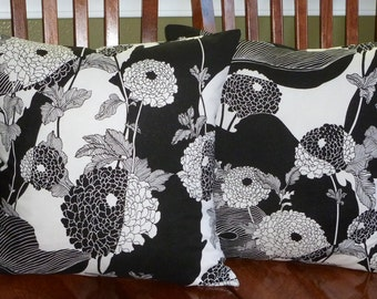 Decorative Accent Pillow Covers- Two 18 Inch - Black and White