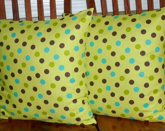 Throw Pillows Decorative Accent Pillow Covers- Two 18 Inch - Lime Green Large Dot