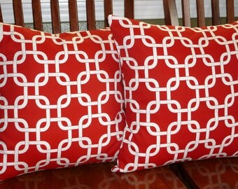 Decorative Pillow Covers in Dark Red and White -Two 18 Inch