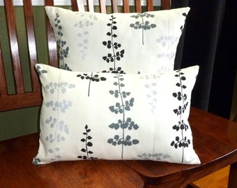 Decorative Accent Throw Pillow Covers - Two Floating Petals in Black and Metallic Grey