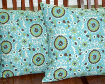 Accent Pillows, Throw Pillows, Pilolw Covers, Decorative Cushions - Aqua and Chocolate - Two 18 Inch