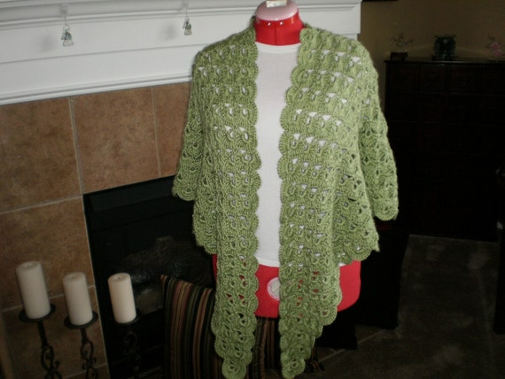 Free Crochet Zen Jacket Pattern : NEW All Hand Crocheted Zen Jacket in Pistachio Green Great