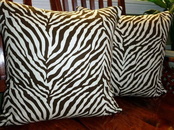 Decorative Throw Pillow Covers Zebra Print Brown and Off