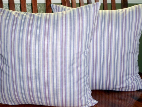 Decorative Throw Pillow Covers - Two 18 Inch Lavender Purple Stripe