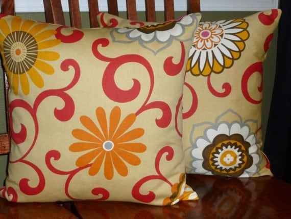 Decorative Accent Toss Pillow Covers - Tan and Red - Two 18 Inch