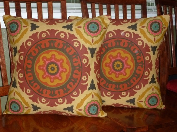 20 Inch Pillow Covers In A Beautiful Fall Print - Set of Two