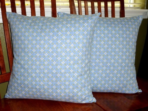 Decorative Throw Pillow Covers - Blue and Lime Print - Two 20 Inch