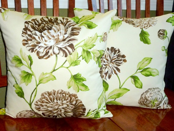 Decorative Accent Pillow Covers - Two18 Inch Brown and Green