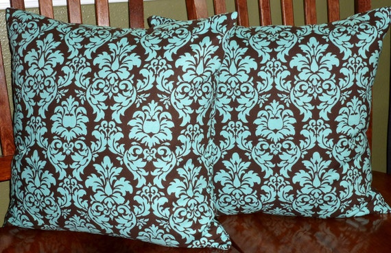Decorative Accent Pillows Covers Teal and Dark Brown Two