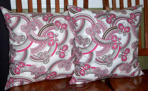Decorative Accent Pillow Covers 18 Inch - Two Pink, Brown, and Grey Butterfly