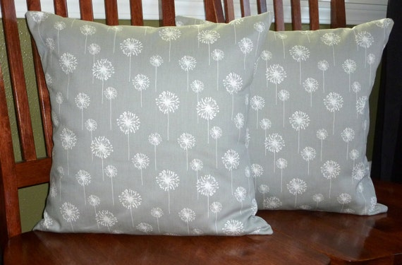 Decorative Accent Pillow Covers - Set of Two 18 Inch - Grey and White Small Dandelion
