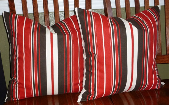 RESERVED LISTING for Ashley Four 18 Inch Pillow Covers - Brown and Red Stripe