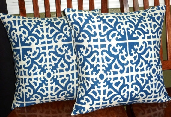Decorative Throw Pillow Covers Royal Blue and White - Two 18 Inch