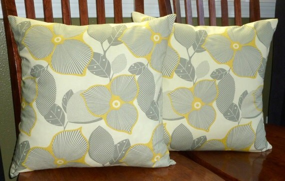 Decorative Accent Throw Pillow Covers - Two Cream, Grey and Gold 18 Inch