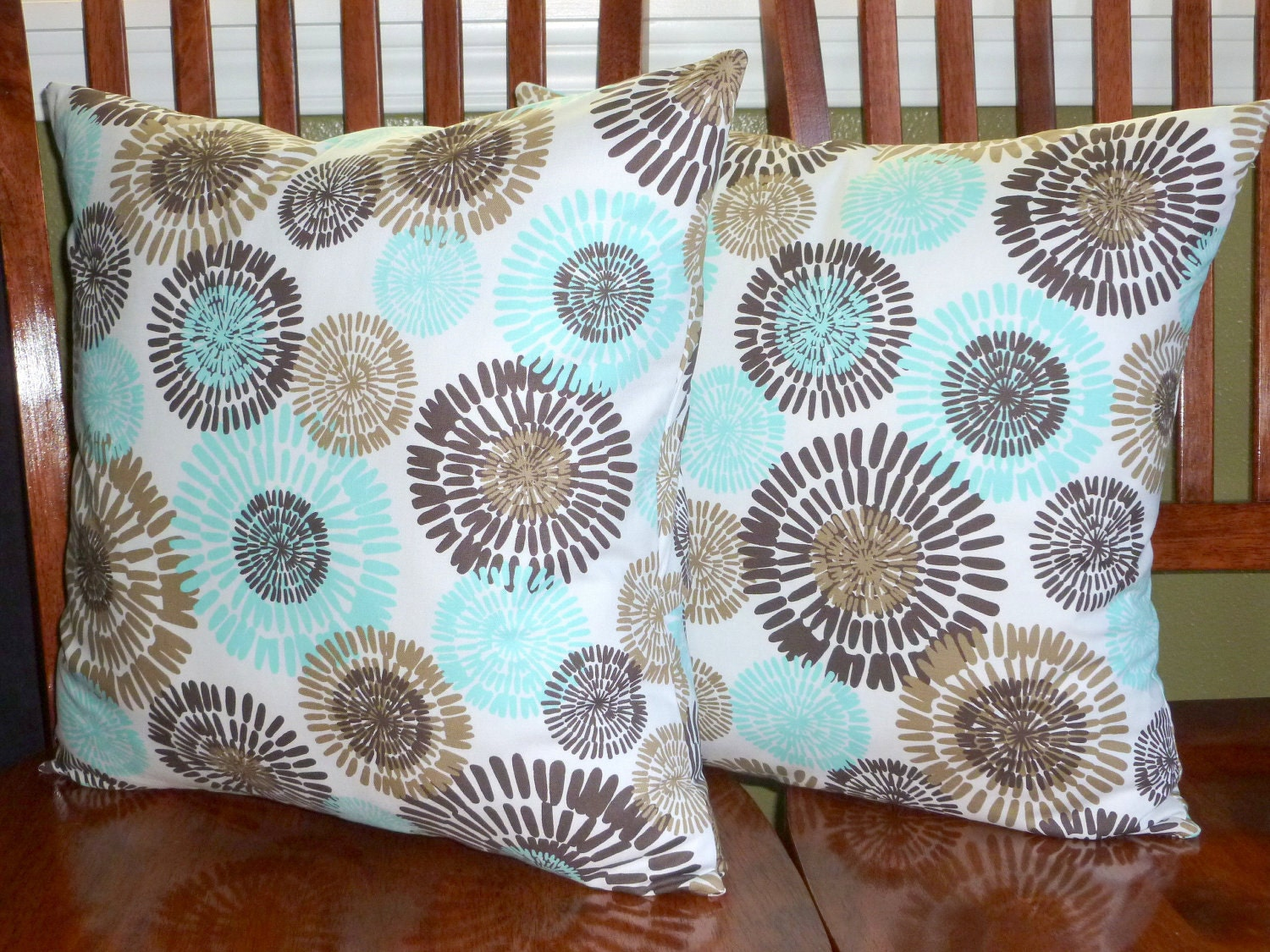 Decorative Accent Pillows Covers Aqua White and Brown Two