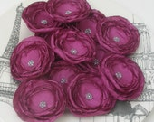 Purple Wine Small Ranunculus Flowers with Silver Center Beads 6 pcs use for hair shoe clips headbands bobby pins skirts shirts purses