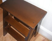 End table brown, wooden, step stool