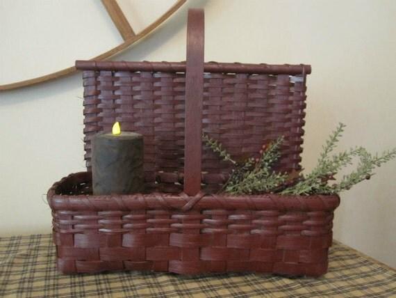 SALE - Primitive Painted Handwoven Countertop Basket