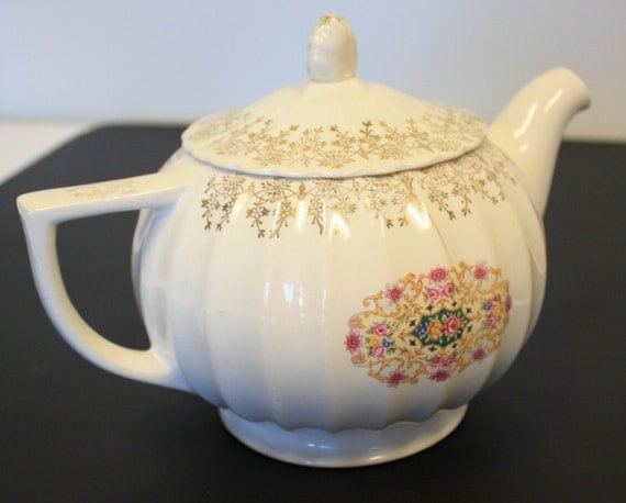 Vintage Vanity Fair Melody Pattern Floral Teapot with Gold Colored Intricate Detail