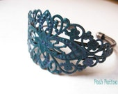 Shimmery Purple and Teal Cuff Bracelet, Hand Painted, Flower, Filigree Bracelet, Peacock, Gift for Her