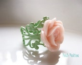 Rose Ring, Peach Orchard, Adjustable, Cocktail Ring, Apple Green, Filigree Ring, Cottage Chic, Garden Inspired, Gifts for Her