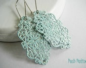 Shimmery Blue Lace - Hand Painted Filigree Earrings