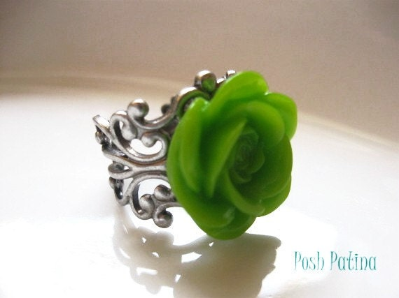 Deco - Lime Green Rose and Silver Filigree Cocktail Ring