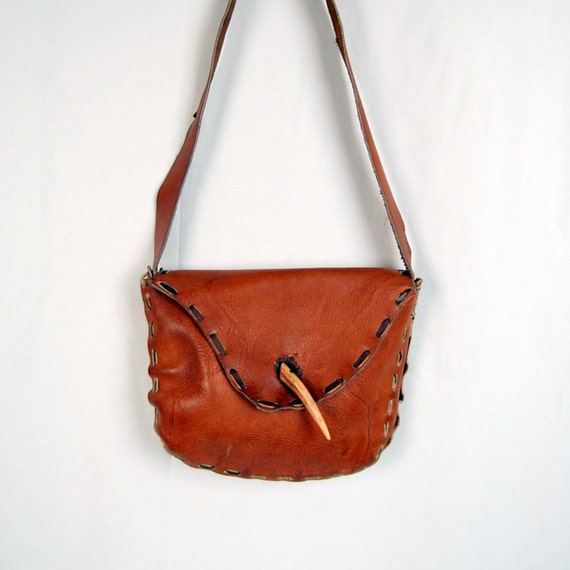 70's/80's Leather Hippie Bag with Bone Closure - Handcrafted - Purse