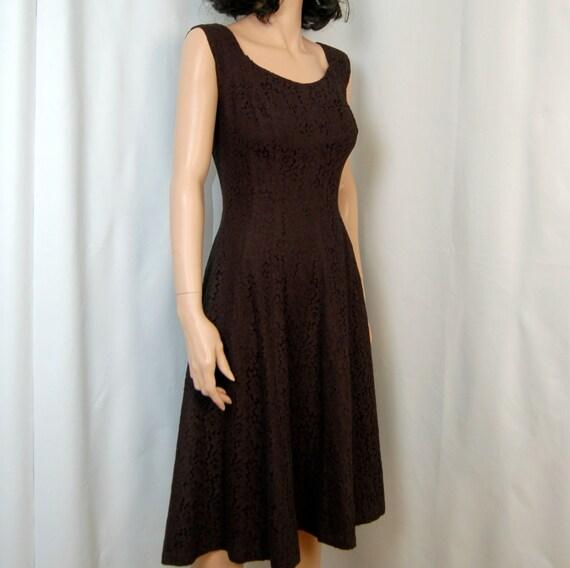 50's Black lace Cotton Dress S M