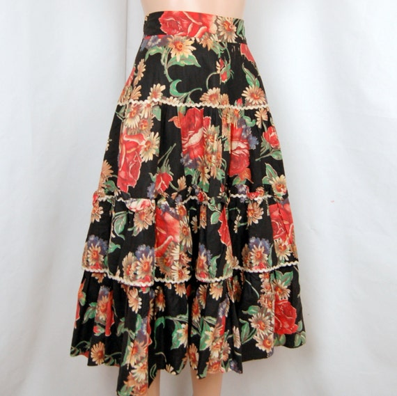 Sale /// 50's Floral Garden Swing Skirt  S