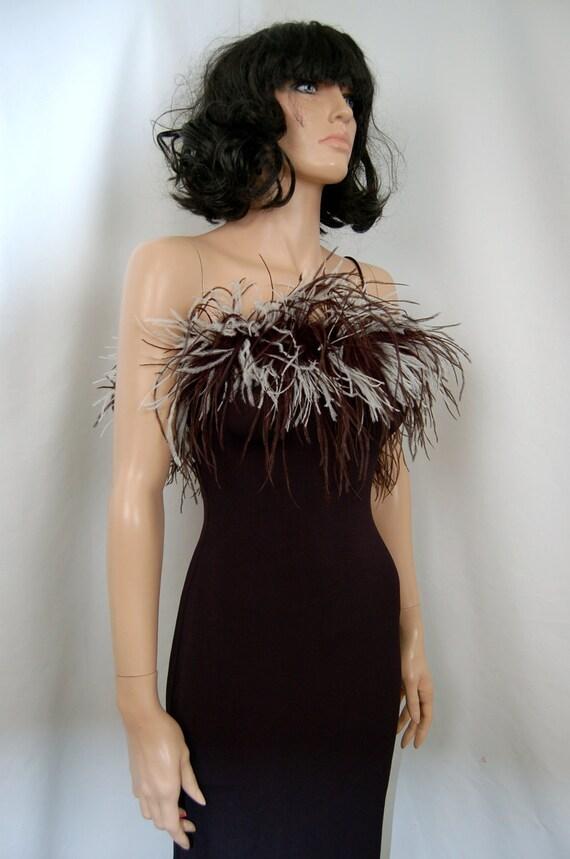 90's Body Con Ostrich Feather Maxi Dress S