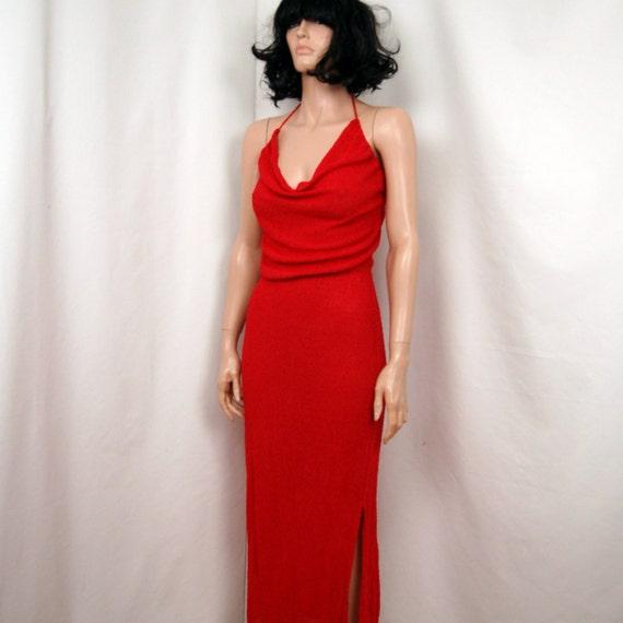 Sale//// 70's Raspberry Nubby Knit Rayon Halter Dress S