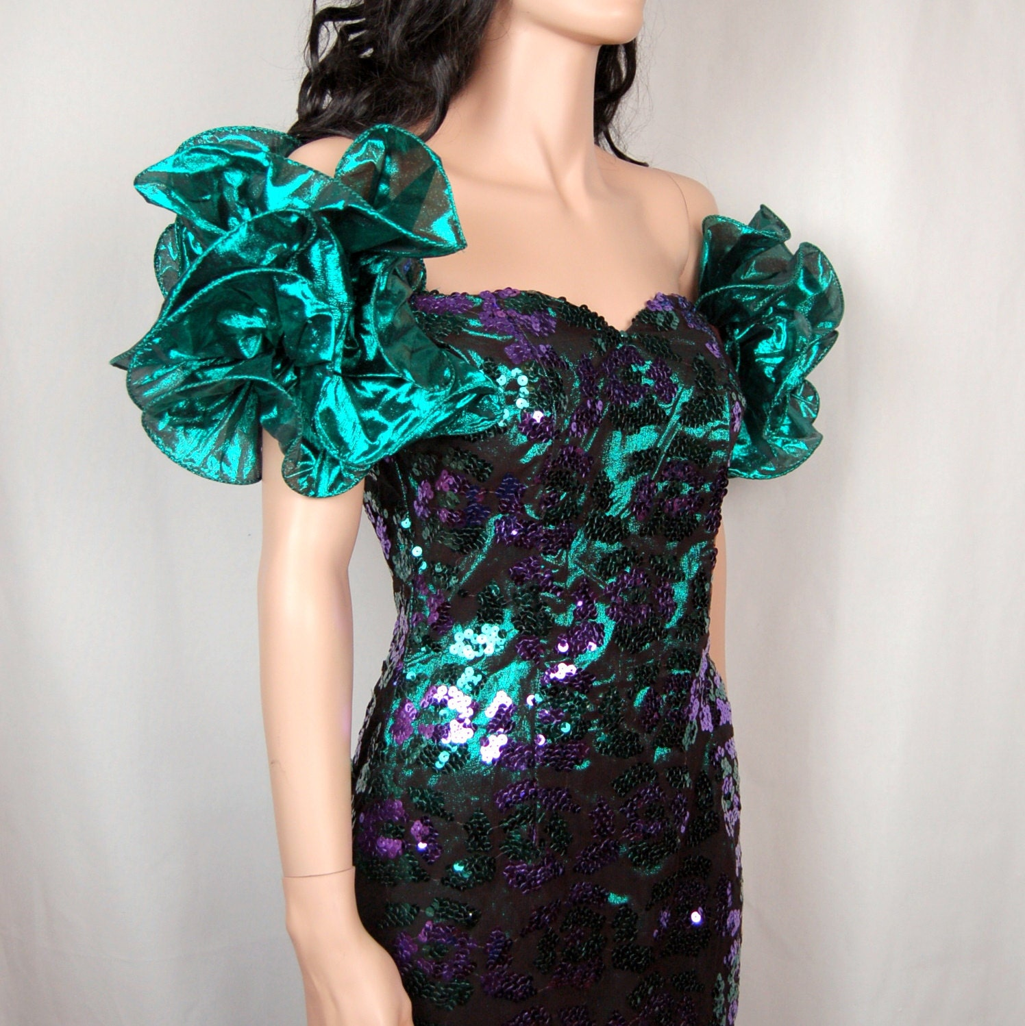 80's Prom Dress Purple & Green Metallic Sequin by ... | 1496 x 1498 jpeg 347kB