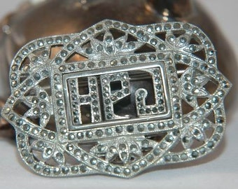 Art Deco Sterling Silver Marcasite Antique Brooch