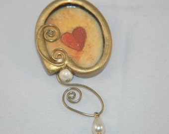 Artisan Heart Brooch Featuring Faux Hanging Pearl